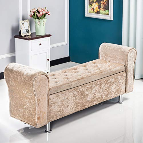 CHL Storage Ottoman, Rectangle Tufted Sofa Storage Bench with Armrests, Large Capacity Storage Chest, Max Load 150 kg, for Hallway, Bedroom, Living Room (Color : Beige, Size : 100×40×40cm)