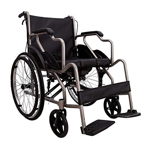 WGFGXQ Silla de Ruedas Ligera, portátil, Plegable, 110 kg, con Soporte de Carga, Asiento de 40 x 40 cm, para discapacitados, Carro de enfermería para Pacientes de rehabilitación, 19 kg