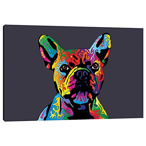 iCanvas MTO498 Rainbow French Bulldog On Grey Canvas Print by Michael Tompsett, 12' x 18' x 0.75' Depth Gallery Wrapped
