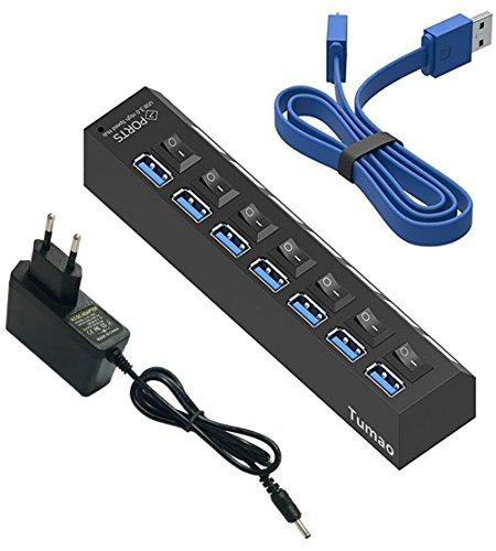 Tumao Hub USB 3.0-7 Puertos Adaptador de Corriente(5V/2A) y Cable USB(60CM) para Macbook Pro Surface Windows 10 Linux Negro