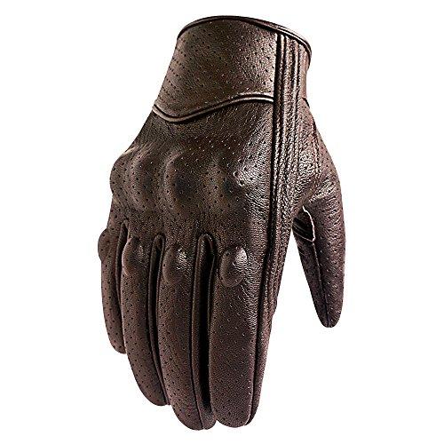 Guantes de moto marrón con dedos completos para motocicleta, con pantalla táctil perforada, para hombre (marrón, perforado, S)