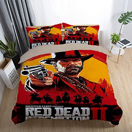 Duvet Cover Sets 3D Red Dead: Redemption Printing Cartoon Bedding Set With Zipper Closure 100% Polyester Gift Duvet Cover 3 Pieces Set With 2 Pillowcases H-UK King90'*86'(230x220cm)