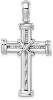 14k White Gold X In Center Of Cross Religious Pendant Charm Necklace Fancy Fine Jewelry Gifts For Women For Her
