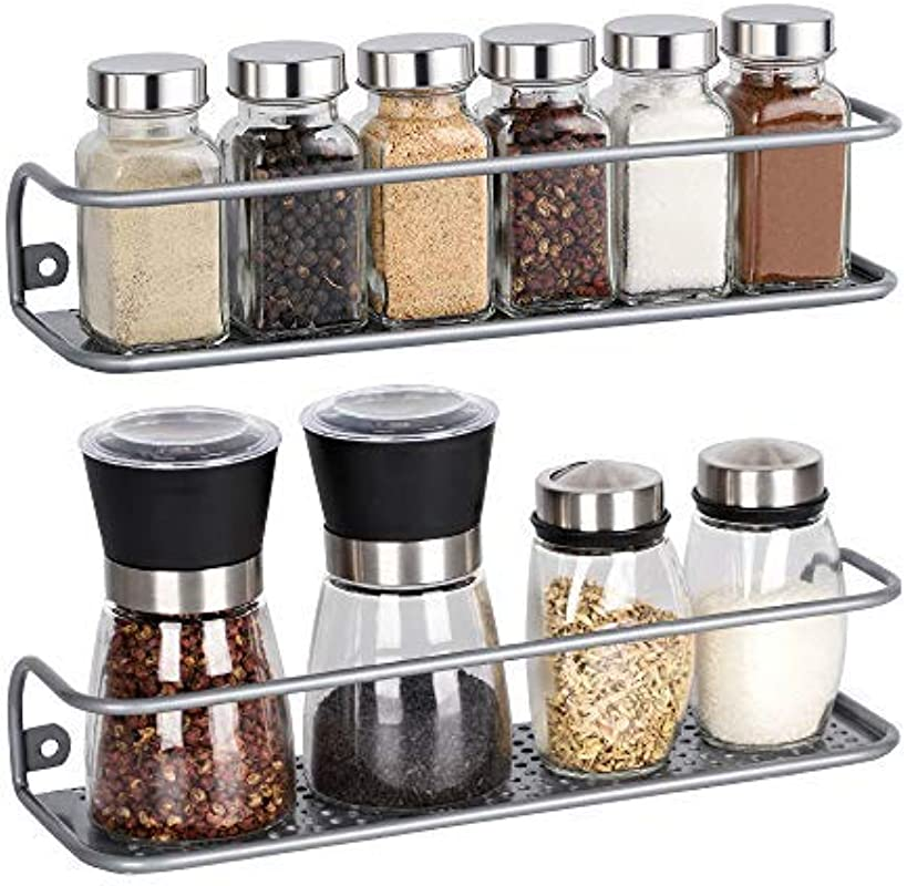 NEX 2 Pack Spice Rack Wall Mounted Kitchen Bathroom Storage Shelves Silver Large