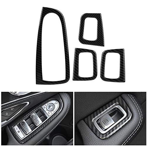 vitesurz Car Accessories Carbon Fiber,Für Mercedes Benz C Klasse W205 2015-2018,4Pcs Carbon Fiber Style Auto Fensterheber Schalter Knopfabdeckung Verkleidung Auto Styling