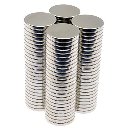 POWER MAGNET STORE Aimants Disque en néodyme Puissant/Champ magnétique Puissant pour Loisirs créatifs, Bricolage, etc. 13 mm x 1,6 mm, Argenté, 1/2\