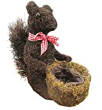 "MGP Rattan Twig Squirrel Topiary Planter with Moss Pot, 12""H, Basket Size: 5""H x 4""W x 4""D"