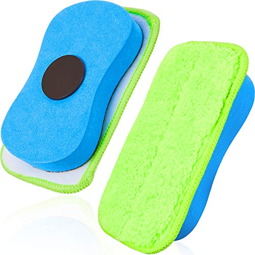 Microfiber Dustless Chalk Eraser Magnetic Chalkboard Eraser Multipurpose Cleaning Duster Washable Reusable Eraser for Markers, Chalk, Home, Classroom and Office (2 Pieces)