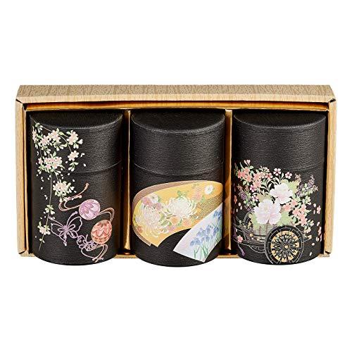 Teedosen Geschenk Set HANAGURUMA hergestellt in Japan Aromaverschluss 3 x 150g