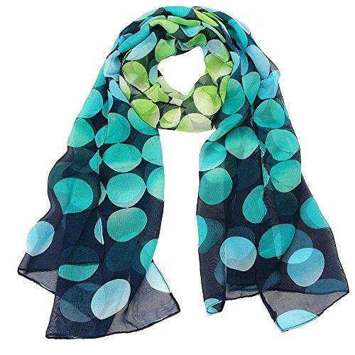 CAOQAO Damen Schal Chiffon-Punkt-Sonnencreme-Schal Rechteck Gaze Halstuch für Frühling Sommer Ganzjährig