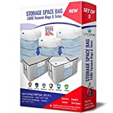 Cube Storage Space Bags / Storage Bag Totes with Reusable Cubic Vacuum Compressed Space Saver Bags. Large Capacity Bedroom and Closet Organizing System that Protects Your Comforters, Blankets, Clothing, Bedding, & More! (X-Jumbo Cubic Bundle) (Gray - Set of 5)
