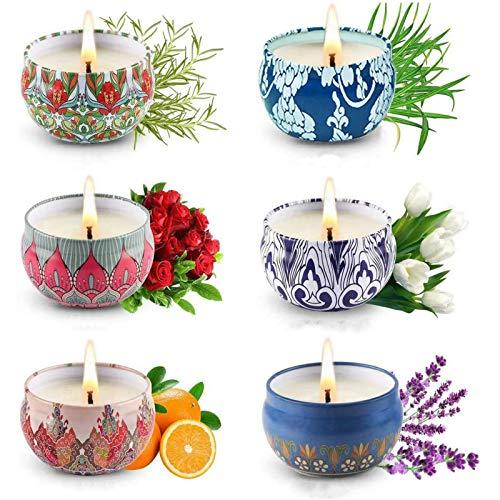 6 velas perfumadas de hojalata decorativas, velas perfumadas, juego de regalo para mujer para habitación regalo de Navidad o cumpleaños para madre o novia