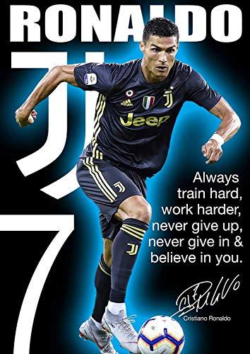 Ronaldo Juventus Poster Motivational – Poster/Wall Art/Soccer Poster, Print Size 12' x 18'(30cm x 46cm) (300mm x 460mm) Finition Givrée Papier Cadeau Décoratif Print Wall