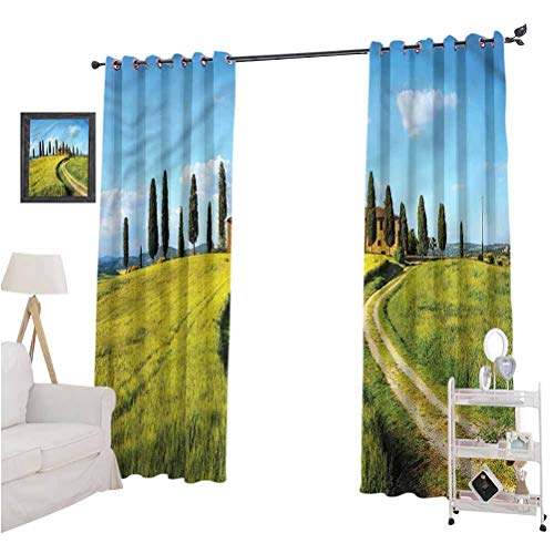 Aishare Store Blackout Window Curtain, Tuscan,Village Greenery Landscape, 84 Inches Long Blackout Curtains for Bedroom, Set of 2 Panels