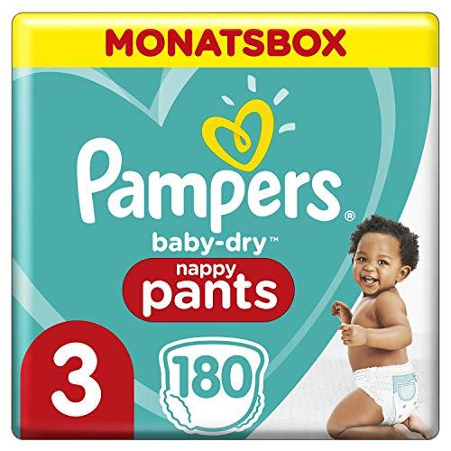 Pampers Baby-Dry Pants, Gr. 3, 6-11kg, Monatsbox (1 x 180 Höschenwindeln), Einfaches An- und Ausziehen, zuverlässige Pampers Trockenheit