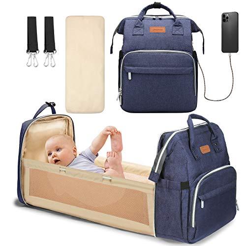 YOOFOSS Mochila Pañales para bebes Mochila Cuna Portátil Bolsos cambiadores Gran Capacidad Mochila Bebe Pañales con un Puerto de Carga USB y 2 Correas Ganchos azul