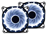 Vetroo 120mm White 15-LEDs Cooling Fan for Computer PC Cases, CPU Coolers and Radiators, 2-Pack