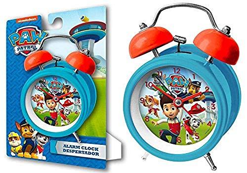Kids Euroswan Reloj Despertador para Campanas de 9 cm Modelo Paw Patrol, Compuesto, Multicolor, 8x3x6 cm