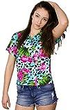 King Kameha Camisa hawaiana de manga corta para mujer, con bolsillo frontal, estampado hawaiano, estampado de leopardo Flores de leopardo, color azul claro. S