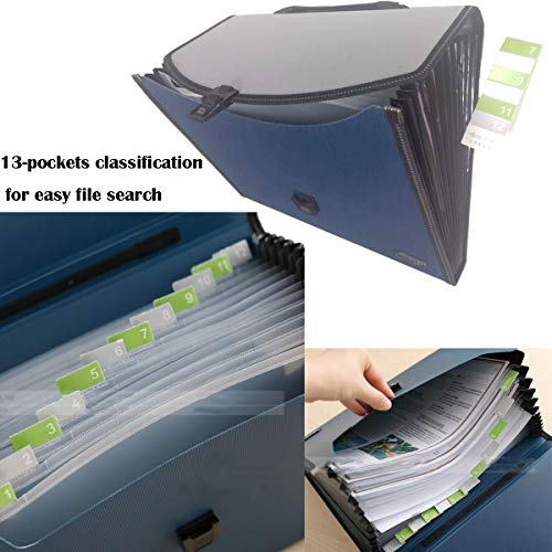 13 Pockets Expanding File Expandable Portable Expanding Accordion Folders Hand-Held Accordion File Document Folder File Organizer A4 and Letter Size(13 Pockets Expandable Portable Blue) Photo #3