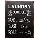 """Barnyard Designs Laundry Schedule Sign Sort Wash Fold Retro Vintage Tin Sign Laundry Room Country Home Decor 13"""" x 10"""""""