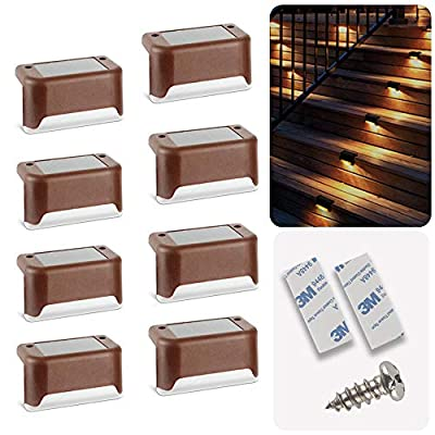 Solar Deck Lights 16 Pcs, Solar Step Lights Outdoor Waterproof Led Solar Fence Lamp for Patio, Stairs,Garden Pathway, Step and Fences(Warm White)