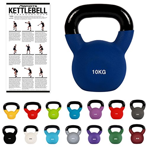 MSPORTS Kettlebell Profesional Neopreno 2 - 30 kg con póster de ejercicios
