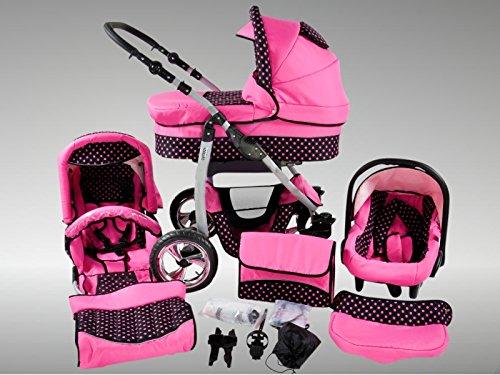 Chilly Kids Dino Kinderwagen Sommer-Set (Sonnenschirm, Autositz & Adapter, Regenschutz, Moskitonetz, Getränkehalter, Schwenkräder) 45 Rosa & Rosa Punkte