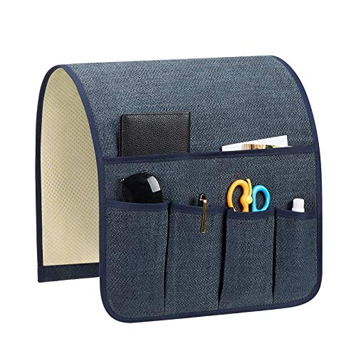 Teniux Remote Control Holder Non-Slip Couch Sofa Chair Armrest Organizer with 5 Pockets Armchair Caddy for Smart Phone, Book, Magazines, Ipad (Gw-Dark Blue)