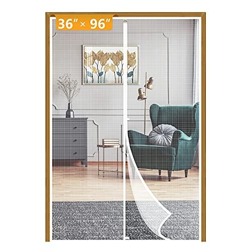 Yotache White Screen Doors with Magnets Fits Door Size 36 x 96, Heavy Duty Door Net Fit Doors Size Up to 36'W x 96'H Enjoy Fresh Air