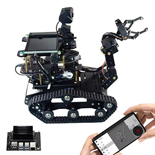 HGYYIO 4 DOF Smart Robot Car Kit, Tank Robot with 9-Axis Gyroscope Sensor, DIY RC Robot Tank Car with Lidar, AI Smart Robot for Jetson Nano, with Human-Computer Interaction System,B