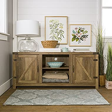 New 58 Inch Barn Door Television Stand in Rustic Oak Finish