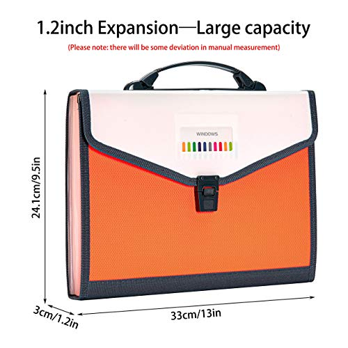 FANWU 13 Pockets Expanding File Folder Accordion File with Handle & Buckle - Letter A4 Paper Size - Expandable Plastic File Folder Monthly Portable Document Organizer for Home School Office (Orange) Photo #8