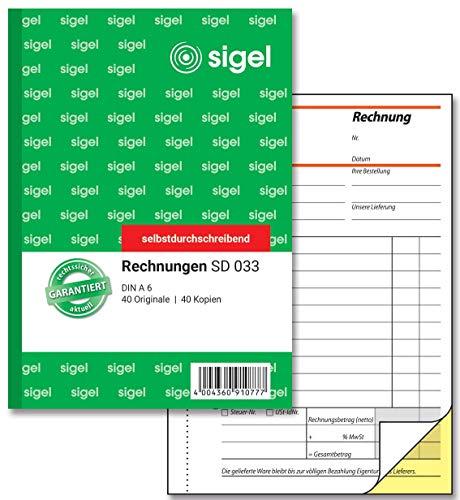 SIGEL SD033 Rechnungen A6, 2x40 Blatt, selbstdurchschreibend, 1 Stück