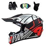 ZJRA Casco De Motocross, Adulto De La Cara Llena Casco De La Motocicleta, Casco Moto Off Road Casco Protector Engranaje MTB Regalo Adulto Guantes Máscara Gafas Conjunto, El Dot,M56~58