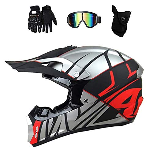 ZJRA Crosshelm,Motocross Helm, Erwachsener Voller Gesichts Motorradhelm, Sturzhelm Motorrad Off Road Helm Protektoren MTB Erwachsener Geschenk Maske Handschuhe Goggle Set, DOT,M54~55