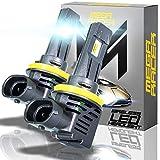 Mega Racer Wireless H11/H8/H9/H16 LED Headlight Bulbs - 50 Watt 6500K Daylight White 12000 LM ZES CSP Chip IP68 Waterproof Rating, 1 Pair