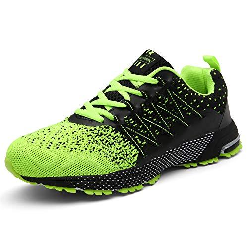 SOLLOMENSI Laufschuhe Damen Herren Sportschuhe Straßenlaufschuhe Sneaker Joggingschuhe Turnschuhe Walkingschuhe Schuhe 46 EU A Grün