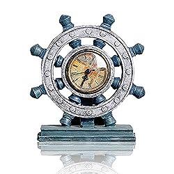 Lependor Wheel Wall Clock Decoration Nautical Anchor Boat Steering Wheel Time Clock Table Decor Crafts Rudder Desk Clock - Blue