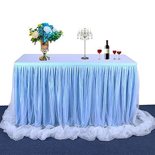 Miaouyo Tüll Tischrock Weiß Tischdecke Tutu Tisch Deko für festlich Hochzeit Baby Shower Kinder Geburtstag Verlobung Weihnachten Candy Bar Taufe Party Deko Tischdeko (Blau, 183 x 78cm)