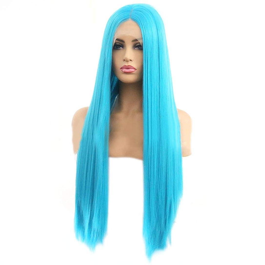 ホップ船尾費やすYrattary レディースブルーサイドポイント前髪化学繊維毛ロングストレートヘアフロントレースかつら合成毛レースかつらロールプレイングかつら (色 : 青, サイズ : 24 inches)