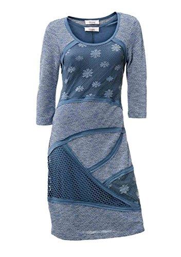 Linea Tesini Designer-Patchkleid rauchblau Größe 36
