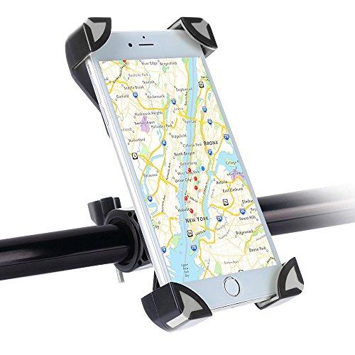 SKYEE Handyhalterung Fahrrad, Universal Fahrradhalterung Einklemmen an den Vier Ecken mit 360 Grad drehbare Fahrrad Verstellbar Lenker Handyhalter für iPhone X/8/7 Plus, Samsung S8 - Grau/Schwarz