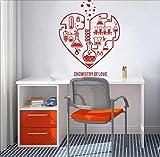 Nouveau Design Chimie Science Abstrait Coeur Sticker Mural Laboratoire Salle De Classe Geek Chimie Affiche Papier Peint 57 * 73.cm