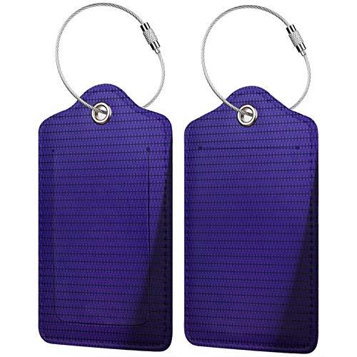FULIYA Juego de 2 etiquetas de equipaje seguras de alta gama de cuero para maletas, tarjetas de visita o bolsa de identificación de viaje, superficie, punto, sombra, oscuro, textura