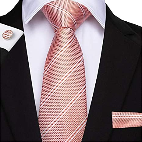 DJLHNCorbata de Boda de Color Rosa durazno para Hombre ...