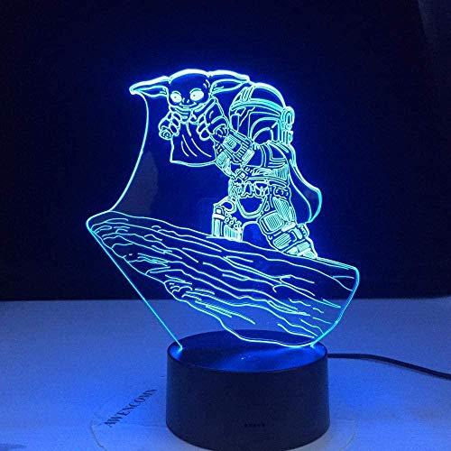 Lámpara de ilusión 3D Led Night Light Star Wars Yoda Dibujo Lámpara de escritorio para niños Decoración de la habitación Lámpara de mesa Proyector para niños