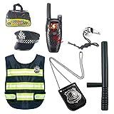 Teakpeak Disfraz De Policía Niño, 8Piezas Policia Kit Policia Uniforme Juego De rol De Juguete con Esposas para Swat, Detective, FBI, Halloween y Disfraces