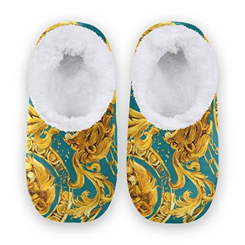 TropicalLife FELIZM Haushausschuhe Luxus Löwe Muster Home Schuhe Warm Anti Rutsch Fuzzy Feet Slippers Indoor Outdoor Hausschuhe für Herren Damen, - mehrfarbig - Größe: XX-Large