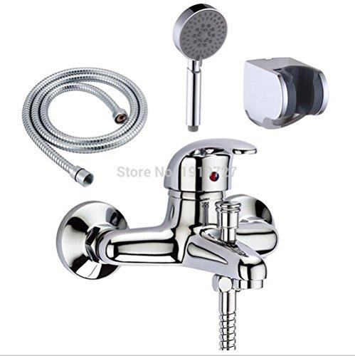 AllureFeng Solide douche cuivre bain lavabo mitigeur et support de la tête de douche et porte-tuyau de poche en chrome robinet de la baignoire